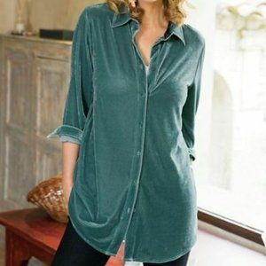 Soft Surroundings Velvet Green Boyfriend Shirt